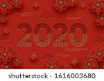 chinese greeting card for 2020...   Shutterstock .eps vector #1616003680
