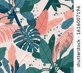 seamless hand drawn tropical...   Shutterstock .eps vector #1616007196