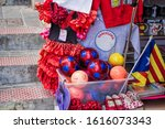Small photo of Barcelona, Spain - 03.03.2016 - kitschy colorful souvenirs