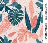 seamless hand drawn tropical... | Shutterstock .eps vector #1616082346