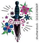 old school tattoo sword. vector ... | Shutterstock .eps vector #1616146069