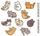 cute cartoon cat drawing set ... | Shutterstock .eps vector #1616161213