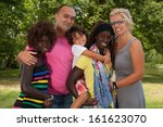 happy multicultural family... | Shutterstock . vector #161623070