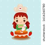 cute girl with chef hat baking... | Shutterstock .eps vector #1616260780