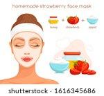 homemade strawberry face mask.... | Shutterstock .eps vector #1616345686