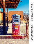 Retro Gas Pump On American Road