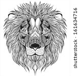 lion head tattoo | Shutterstock .eps vector #161634716