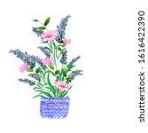 watercolor. bouquet of lavender ... | Shutterstock . vector #1616422390