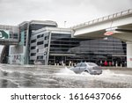 Small photo of Dubai, United Arab Emirates, 11th January 2020: flooded streets of Dubai after a heavy downpour