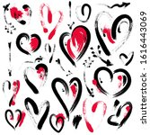 set of hand drawn heart and... | Shutterstock . vector #1616443069