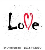 word love with mark on dust... | Shutterstock . vector #1616443090