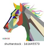 Stock vector horse head symbol of new year trendy style geometric on white background in vector 161645573
