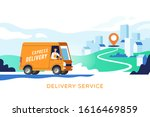 express delivery truck with man ...   Shutterstock .eps vector #1616469859