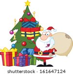 jolly santa claus holding up a... | Shutterstock .eps vector #161647124