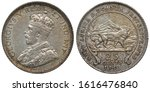 British East Africa and Uganda Protectorates silver coin 25 twenty five cents 1913, bust of King George V left, lion in front of mountains right, denomination and date below,