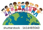 earth globe with group of... | Shutterstock .eps vector #1616485060