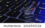 3d rendering cart on keyboard.  ... | Shutterstock . vector #1616542126