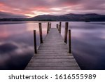 Wooden Jetty In Cumbria At...