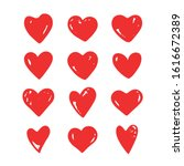 Heart symbols isolated on a white background. Red hand drawn icons for love, wedding, Valentine's day or other romantic design. Set of 12 various shapes with grunge texture. Vector illustration.