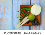 wooden plate with onion key...