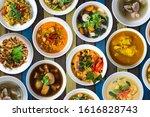 Set Of Thai Food On Top Table...