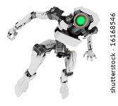 slim 3d robotic figure  isolated | Shutterstock . vector #16168546