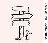 road signpost. vector linear...   Shutterstock .eps vector #1616855050