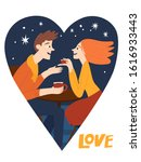 lovers in a cafe heart shape... | Shutterstock .eps vector #1616933443