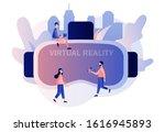 virtual reality concept. tiny... | Shutterstock .eps vector #1616945893