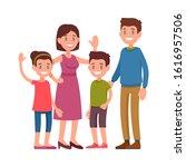 happy family. parents standing... | Shutterstock .eps vector #1616957506