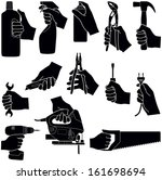 hands with tools collection  ... | Shutterstock .eps vector #161698694