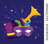 Mardi Gras Trumpet Mask And Ha...