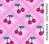 cute cherry seamless pattern....   Shutterstock .eps vector #1617046903