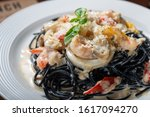 seafood ink noodle pasta with... | Shutterstock . vector #1617094270