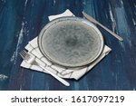 round plate with utensils and...   Shutterstock . vector #1617097219