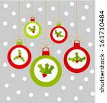 Christmas baubles hanging with holly berry decoration. Vector illustration background - stock vector
