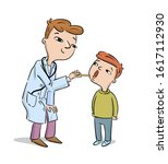 doctor examines healthy boy ... | Shutterstock .eps vector #1617112930