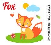 cute animal alphabet. f letter. ... | Shutterstock .eps vector #161718626