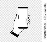 hand holding mobile phone...   Shutterstock .eps vector #1617262003