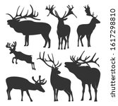 collection of silhouette  deers.... | Shutterstock .eps vector #1617298810