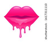 melting lips. sexy woman's lips.... | Shutterstock . vector #1617311110