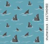 shark fins and shark heads on a ... | Shutterstock .eps vector #1617340483