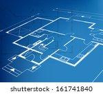 home plan blueprint background. ... | Shutterstock .eps vector #161741840