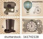 steampunk labels  vintage style | Shutterstock .eps vector #161742128