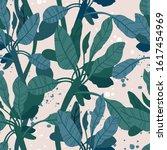 seamless hand drawn tropical...   Shutterstock .eps vector #1617454969