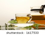 tea pot with cup and leaves of