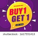 buy 1 get 1 free sale banner...   Shutterstock .eps vector #1617551413