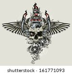 winged skull with dragster... | Shutterstock .eps vector #161771093