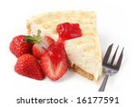 Cheesecake served with fresh strawberries and coulis. - stock photo