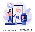fitness app and smartwatch app... | Shutterstock .eps vector #1617960019